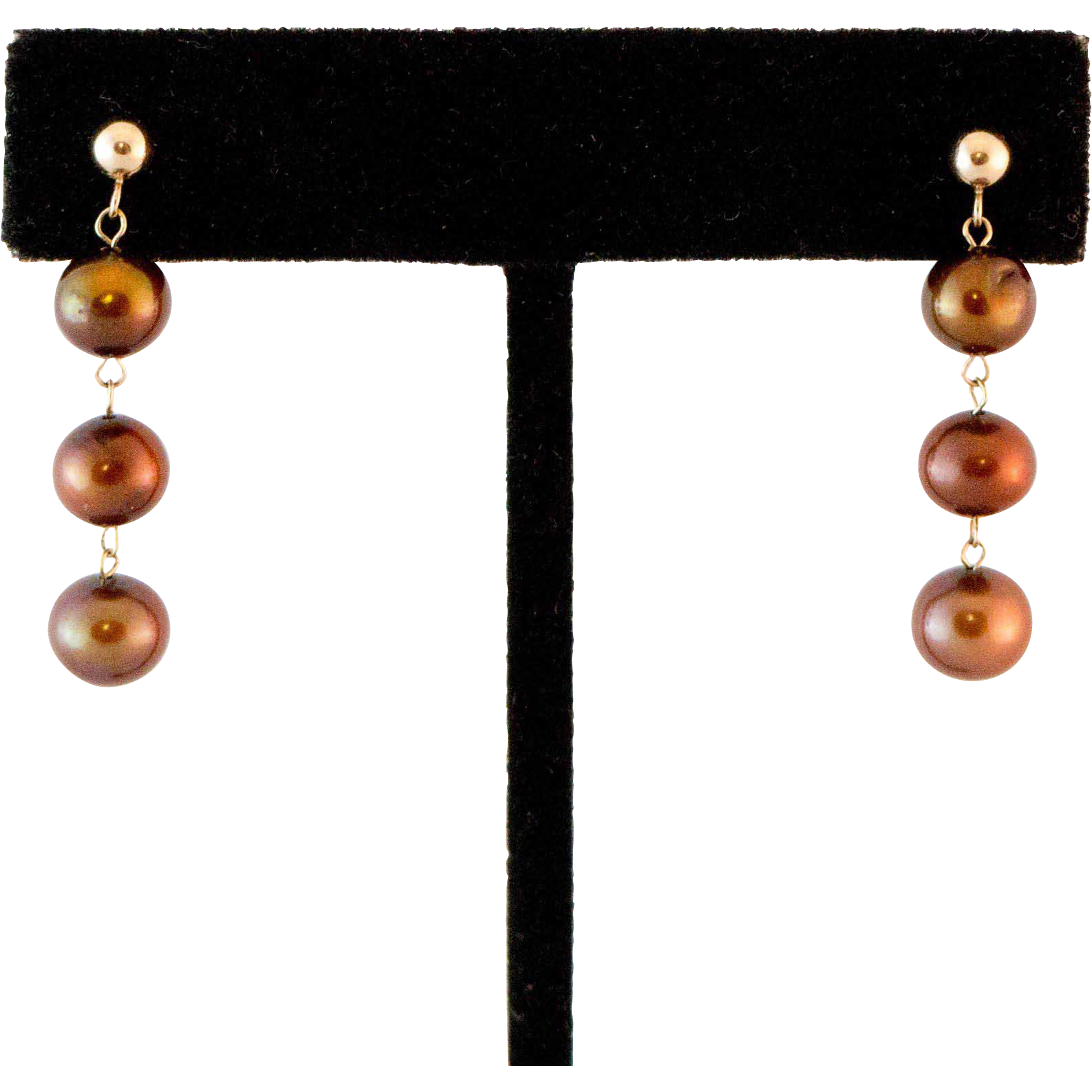 14K Gold Freshwater Chocolate Pearl Earrings from ...
