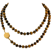 29 Inch 14K Gold Tiger's Eye Bead Necklace