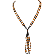 Beautiful Wooden Bead Y-Necklace 34 Inches