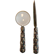 Vintage Rhinestone Letter Opener and Magnifying Glass Combo
