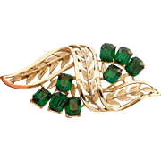 Vintage CORO Leaf Design Green Glass Brooch