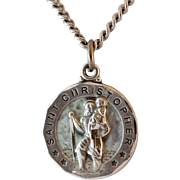 "Sterling Silver St. Christopher Medallion with 24"" Chain"
