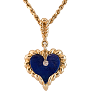 Victorian 14K Gold Lapis Lazuli & Diamond Pendant with Chain