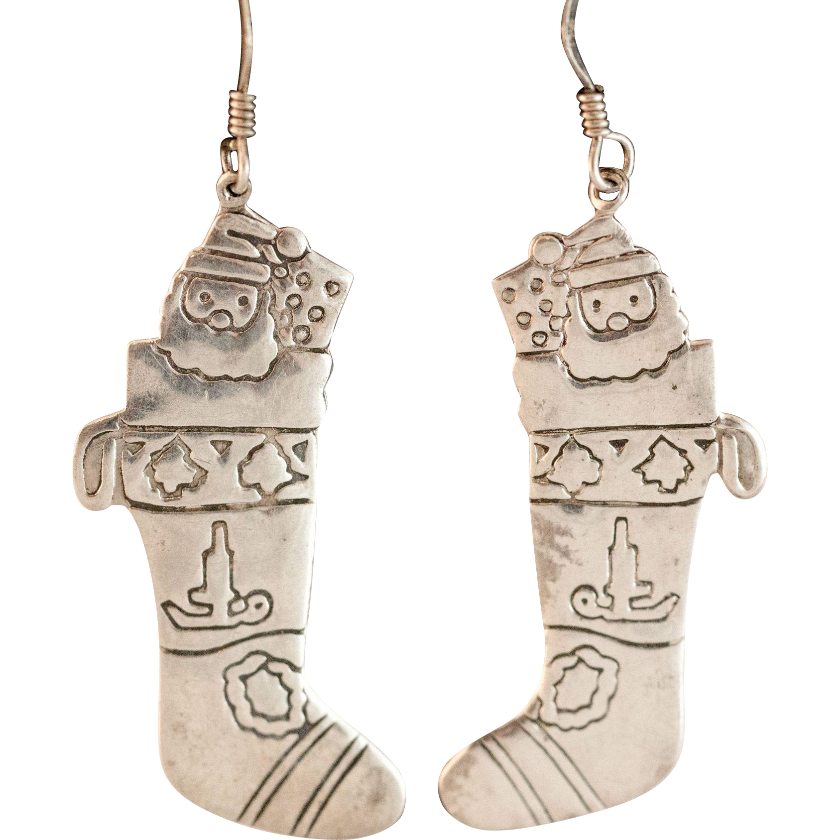 Hand etched sterling silver christmas stocking earrings for Sterling silver christmas jewelry