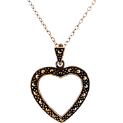 "Vintage Sterling Silver Marcasite Open Heart Pendant with 19"" SS Chain"