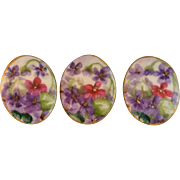 Beautiful Hand Painted Porcelain Buttons with Flower Motif