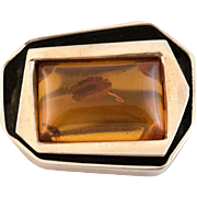 Art Deco Amber Brooch Sterling Silver