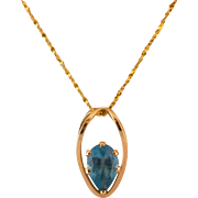 14K Gold Blue Topaz Pendant with 17 Inch 14K Gold Chain