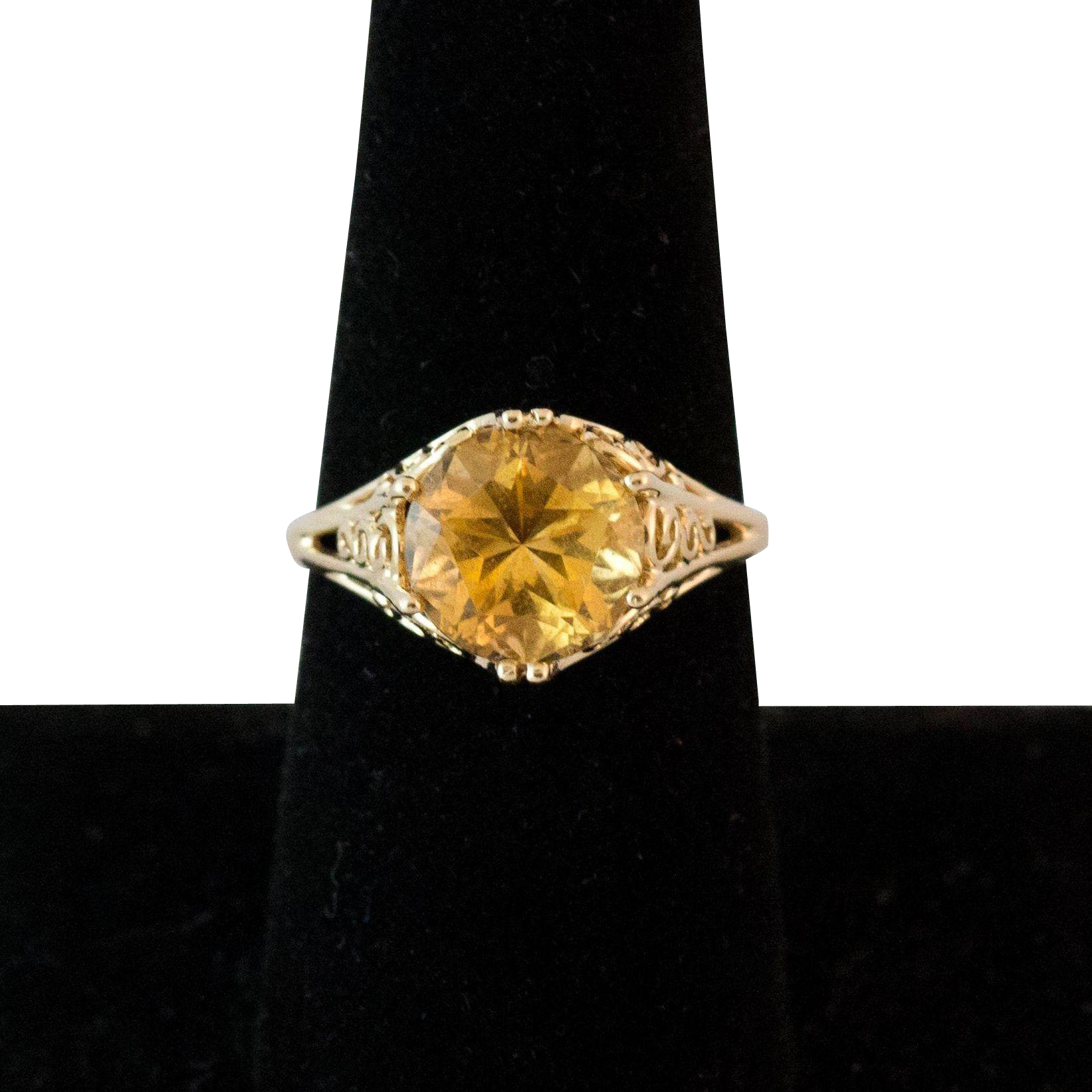 14k gold citrine ring with filigree mounting from rubylane