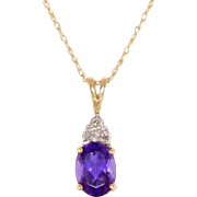 10K Gold Amethyst & Diamond Pendant with 18 Inch 10K Gold Chain - Red Tag Sale Item