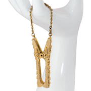 Large Gold Tone Clip with Safety Chain