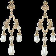 Faux Pearl & Paste Chandelier Earrings