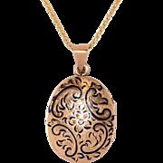 Sweet Art Nouveau 14K Rose Gold Enameled Locket