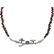 Vintage Artisan Designed Garnet Chip Necklace with Bird Motif
