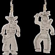 """Sterling Silver """"Root'n-Toot'n"""" Cowboy & Indian Earrings"""