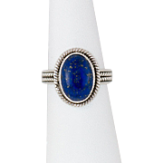 Sterling Silver Lapis Lazuli Ring Size 7-1/4