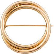 Estate 14K Gold Double Circle Brooch