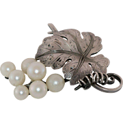 Amazing Japanese Akoya Cultured Pearl and Grape Leaf Vintage Sterling Brooch