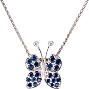 14K White Gold | Sapphire & Diamond Butterfly Pendant | with Chain