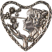 Sterling Silver Marcasite Figural Heart Brooch with Floral Motif