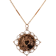 14K Rose Gold Victorian Heart & Floral Pendant with Chain