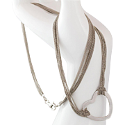 Sterling Silver Multi-Strand Chain Necklace with Heart Pendant