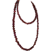 16 Inch Garnet Bead Necklace with Gold Tone Clasp