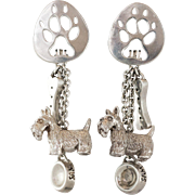 Sterling Silver Scotty Dog Earrings with Bone, Dish, and paw-print
