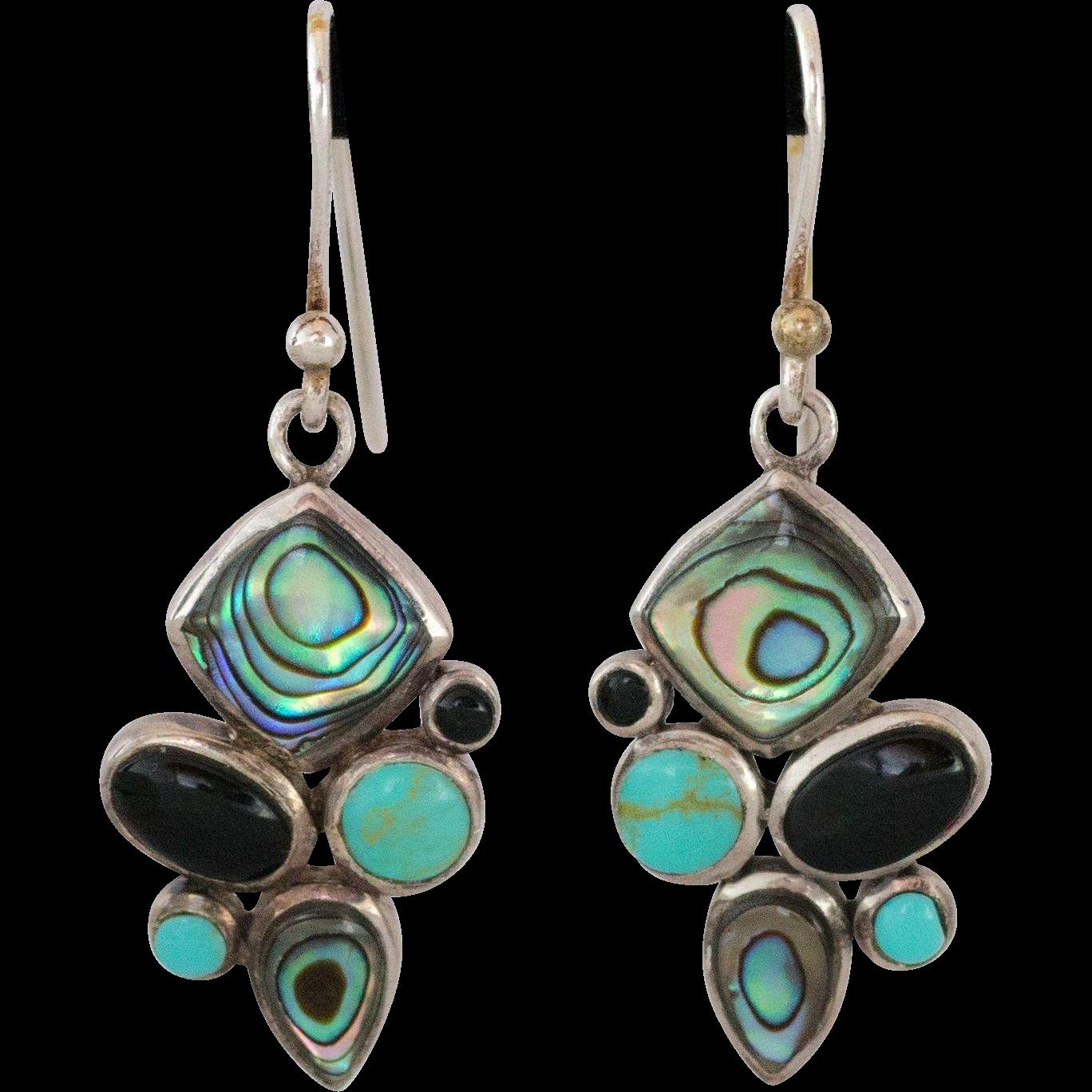 sterling silver multi gemstone earrings from