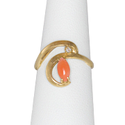 14K Gold Coral & Diamond Ring