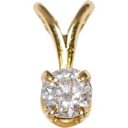 14K Gold .30 Carat Diamond Solitaire Pendant