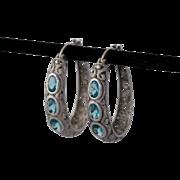 Sterling Silver Filigree Blue Topaz Hoop Earrings