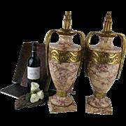 unusual XXL PAIR MARBLE Vases urns Bronze 19th c