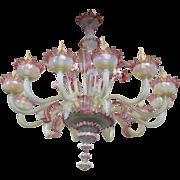 RARE XXL - HUGE 12 ARMS Murano Venetian Pink Glass Hand-blown Chandelier 1960s