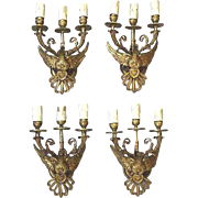 RARE set 4 pcs XL Empire eagle bronze bird 3 arms wall sconces lights 1930
