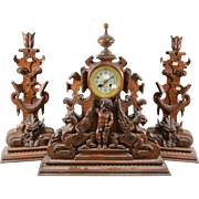 RARE XXL German Wood carved Black forest Devil Satyr putti dragon clock 1900