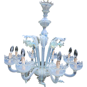 XL MURANO 8 arms light blue Venetian chandelier hand blown mid-century 1960's