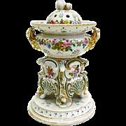 Antique french jacob petit marked porcelain potpourri vase 19th c