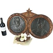 Exclusive XXL Memorial WW1 WWI Bronze French hero plaques medaillon wood frame