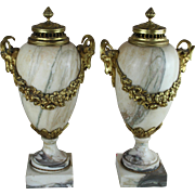 PAIR Huge French Marble Vases urns Ram heads bronze louis XVI decor 1900