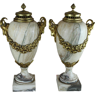 PAIR Huge French Marble Vases urns Ram heads bronze louis XVI decor 1900