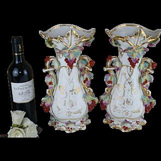 Antique 19thC PAIR vieux paris porcelain floral decor Vases