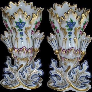 Antique 19thC PAIR vieux paris porcelain floral decor Vases style de Jacob petit