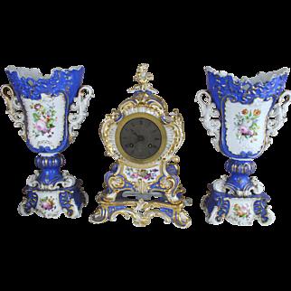 Rare Antique Jacob Petit porcelain Clock set vases floral decor 19th c