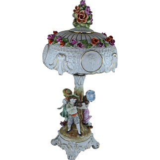 German Marked Vtg Porcelain faience Figurines Floral table lamp 1960's