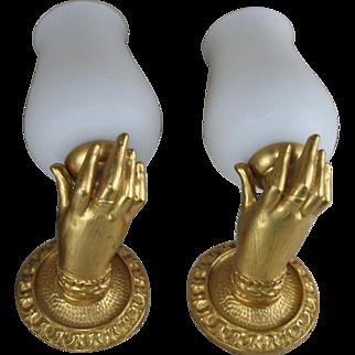 Antique PAIR empire gout de Maison jansen Bronze Hand Wall sconces lights