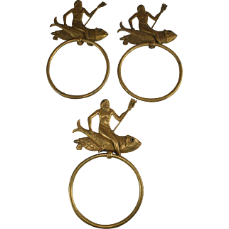 Rare French antique brass nautical neptunus towel rack holder set of 3 1920s