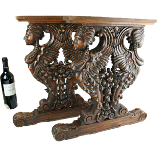 RARE PAIR antique French wood carved 1900 Caryatid pediment furniture table paw