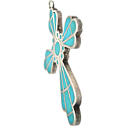 Inlaid Turquoise and Sterling Silver Cross Pendant