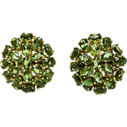 Chrome Tourmaline Pave Cluster 14 Karat Gold Earrings